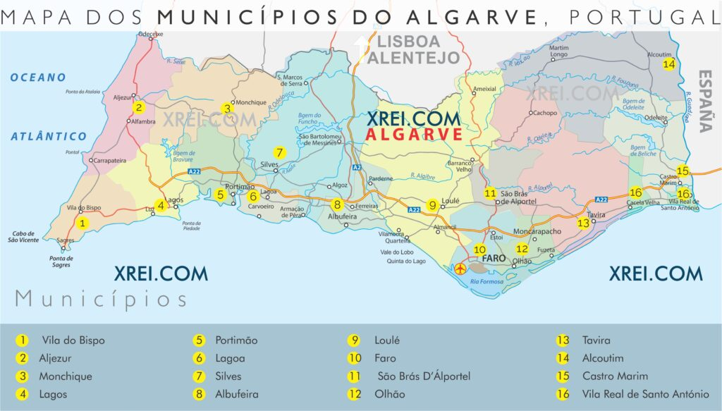 Mapa de los 16 municipios de la región de Faro, Algarve en el sur de Portugal