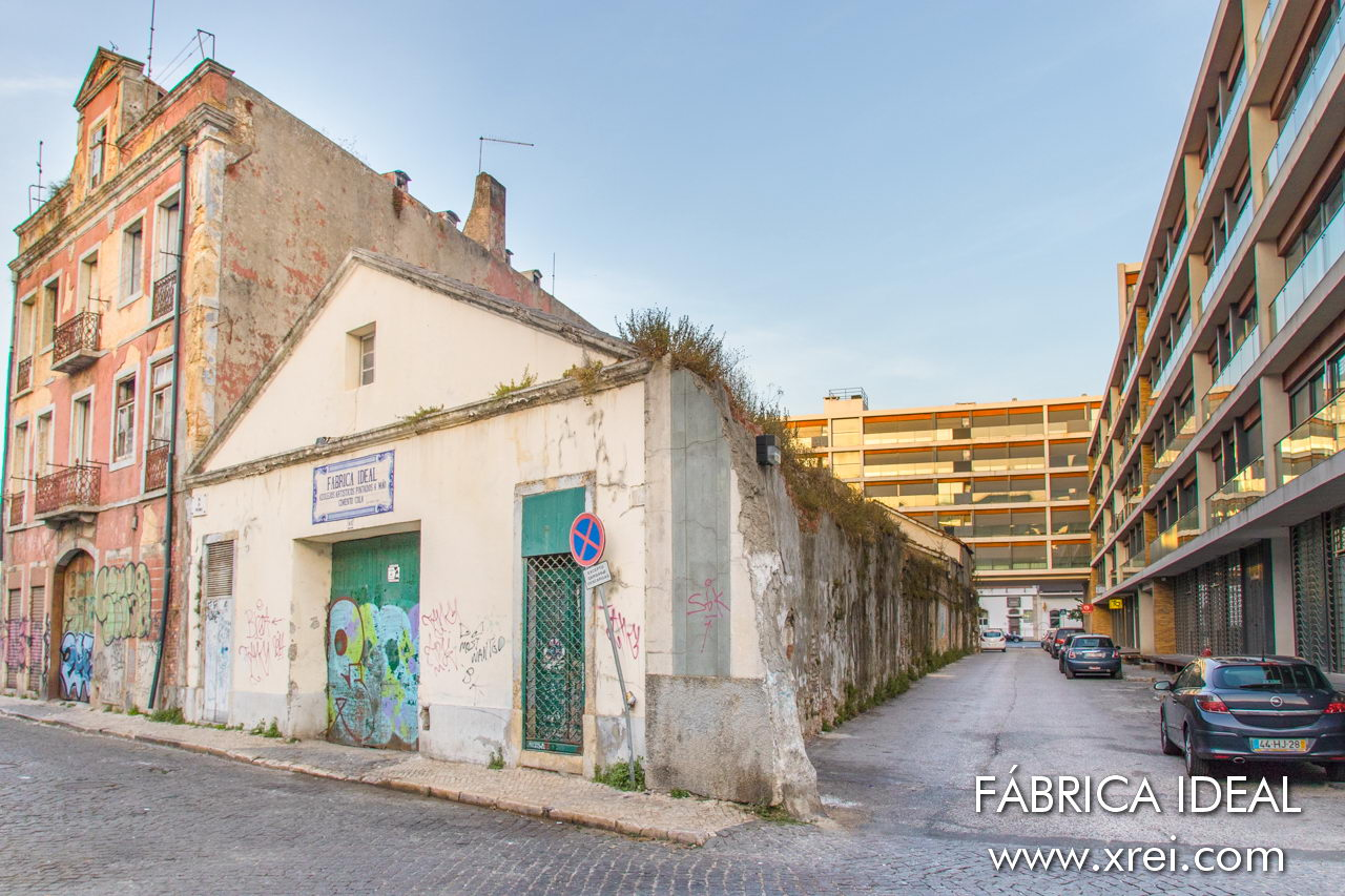 New and old Alcântara, in this image we see Fábrica Ideal, an old hand-painted tile factory in Lisbon, together with the new apartment condominiums that replace the historic factories of Lisbon