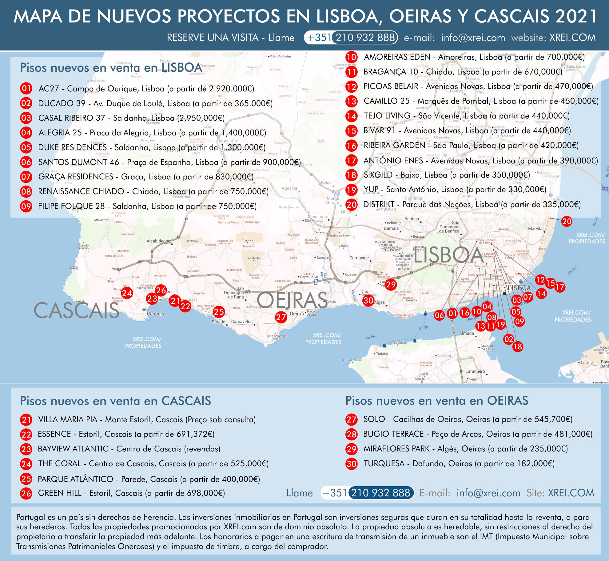 Mapa de apartamentos nuevos en venta en condominios con piscina y edificios residenciales en Lisboa, Cascais y Oeiras, Portugal.