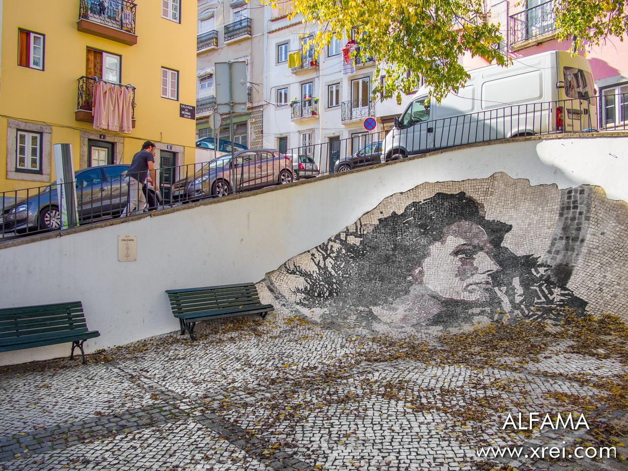 Alfama with Portuguese stone design by fado singer Amálida Rodrigues