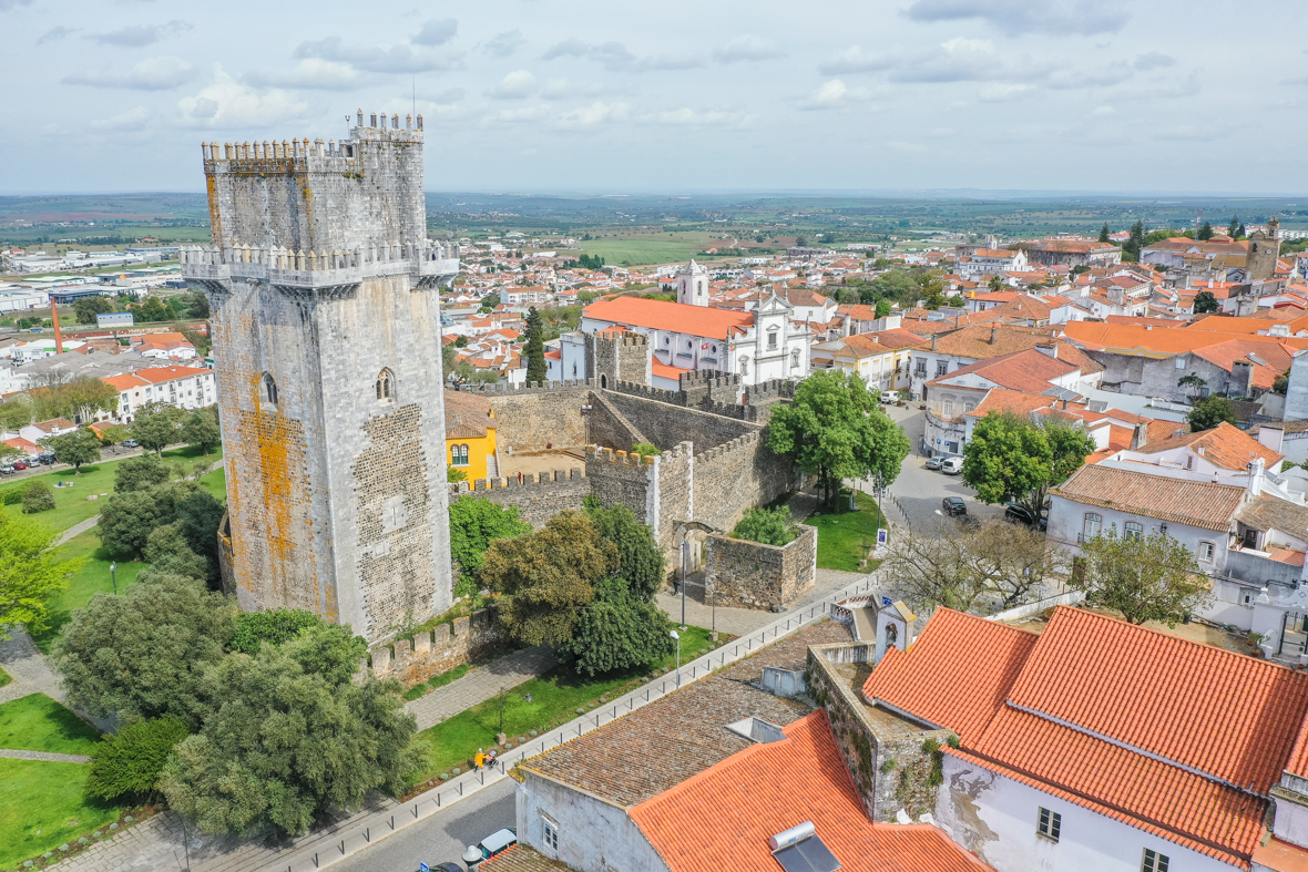 Aerial view of the City of Beja, with the walls of the Castle of Beja, the Port of Évora, the Cathedral, and the view of the surroundings