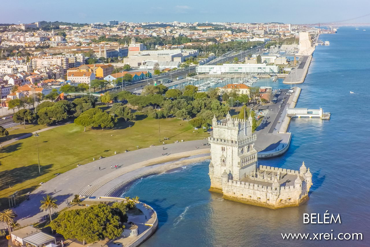 Belém, aerial view of the riverside with the monuments facing the river
