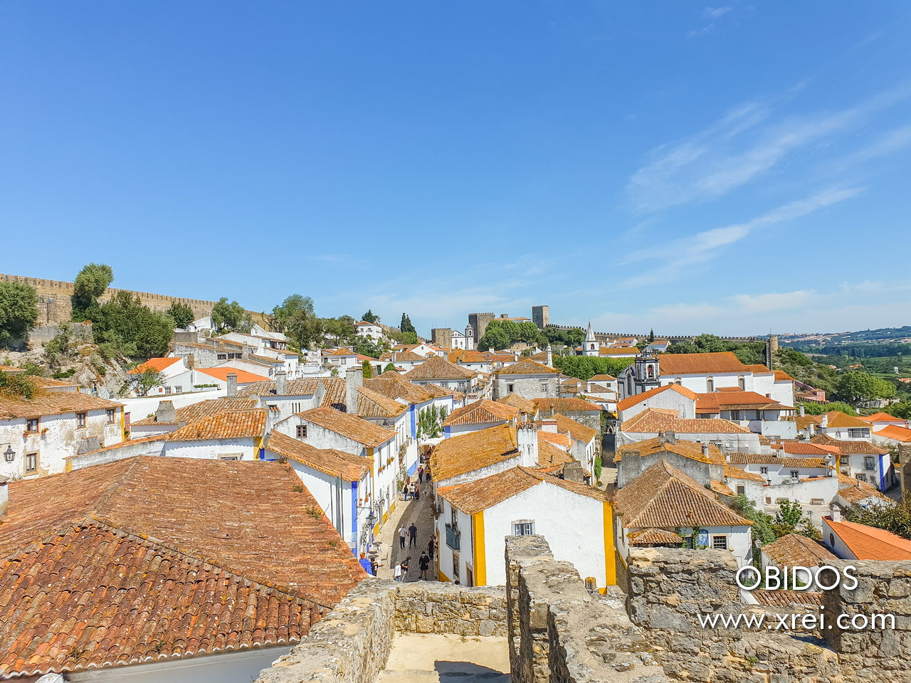 Vila de Óbidos, located within the walls of the Castle of Obidos, in Portugal