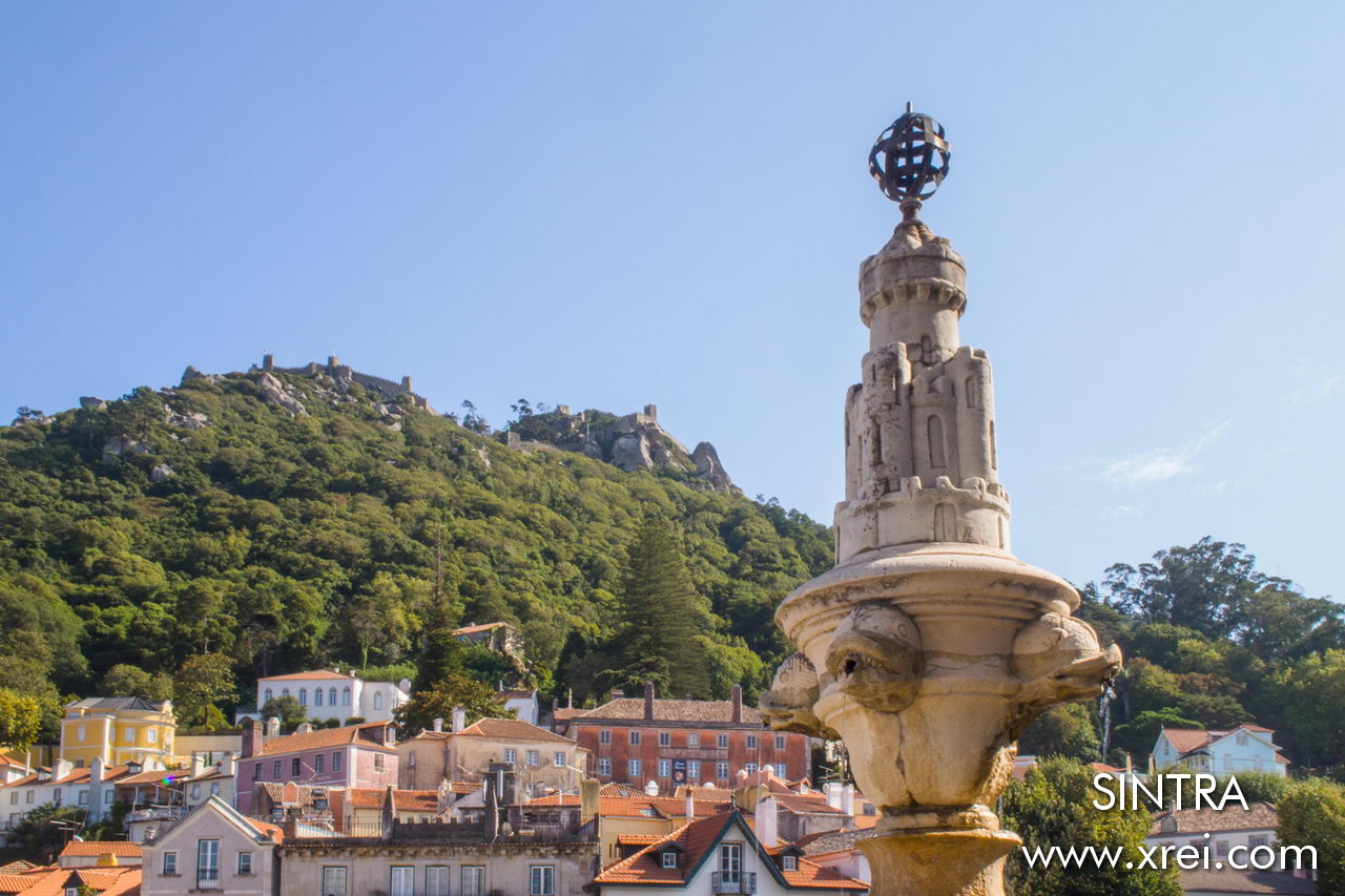 Castelo dos Mouros in the Sintra mountains seen from the center of the village