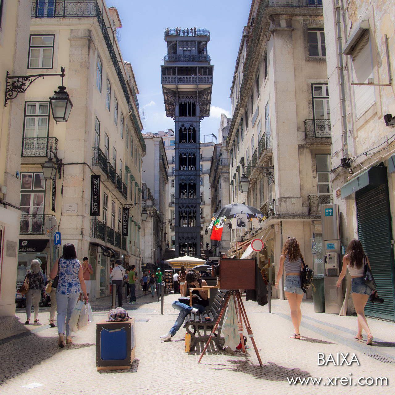 Elevador de Santa Justa is a vertical elevator with a cast iron architecture, and a plaque at the top that allows us to enjoy a panoramic view over downtown Lisbon
