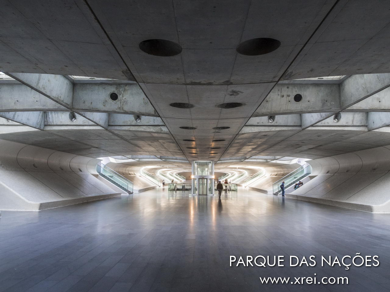Gallery of access to the Lisbon metro at Gare do Oriente, Oriente station, with a futuristic architecture designed in concrete and glass