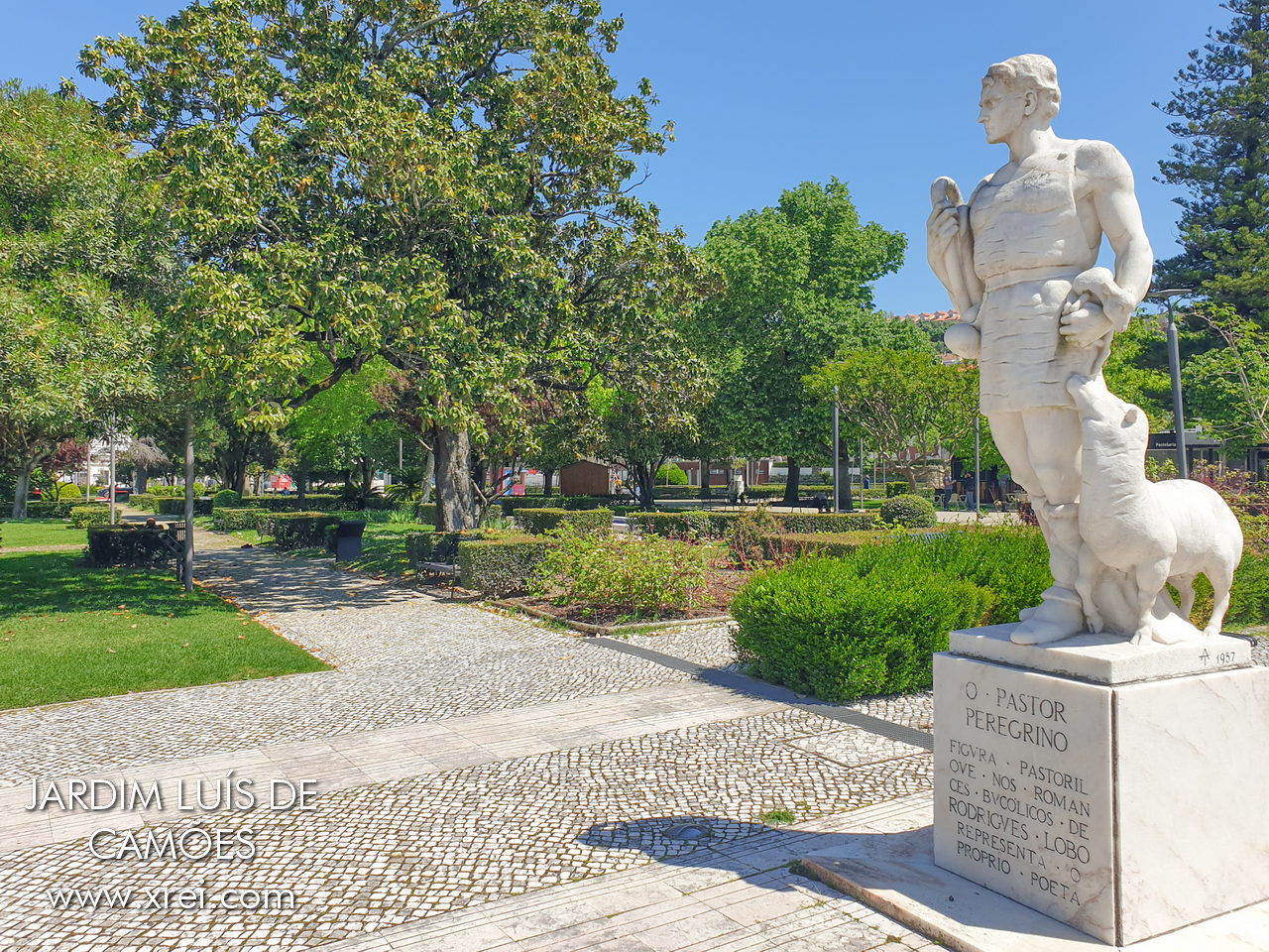 Jardim Luís de Camões by the river Lis in Leiria, with the statue of the Shepherd Pilgrim with the sheep.
