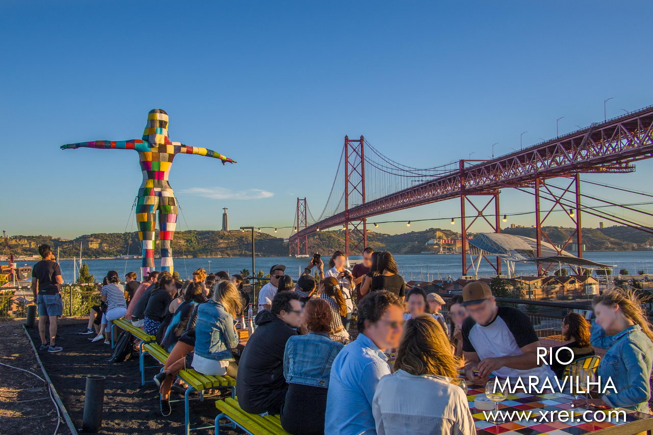 View from the outside terrace of Rio Maravilha, LX FACTORY Rooftop bar. A restaurant with bar and dining space located in Alcântara, on top of an Lx Factory building, from where we can have a privileged view over the Tagus River and the old factories of Alcântara