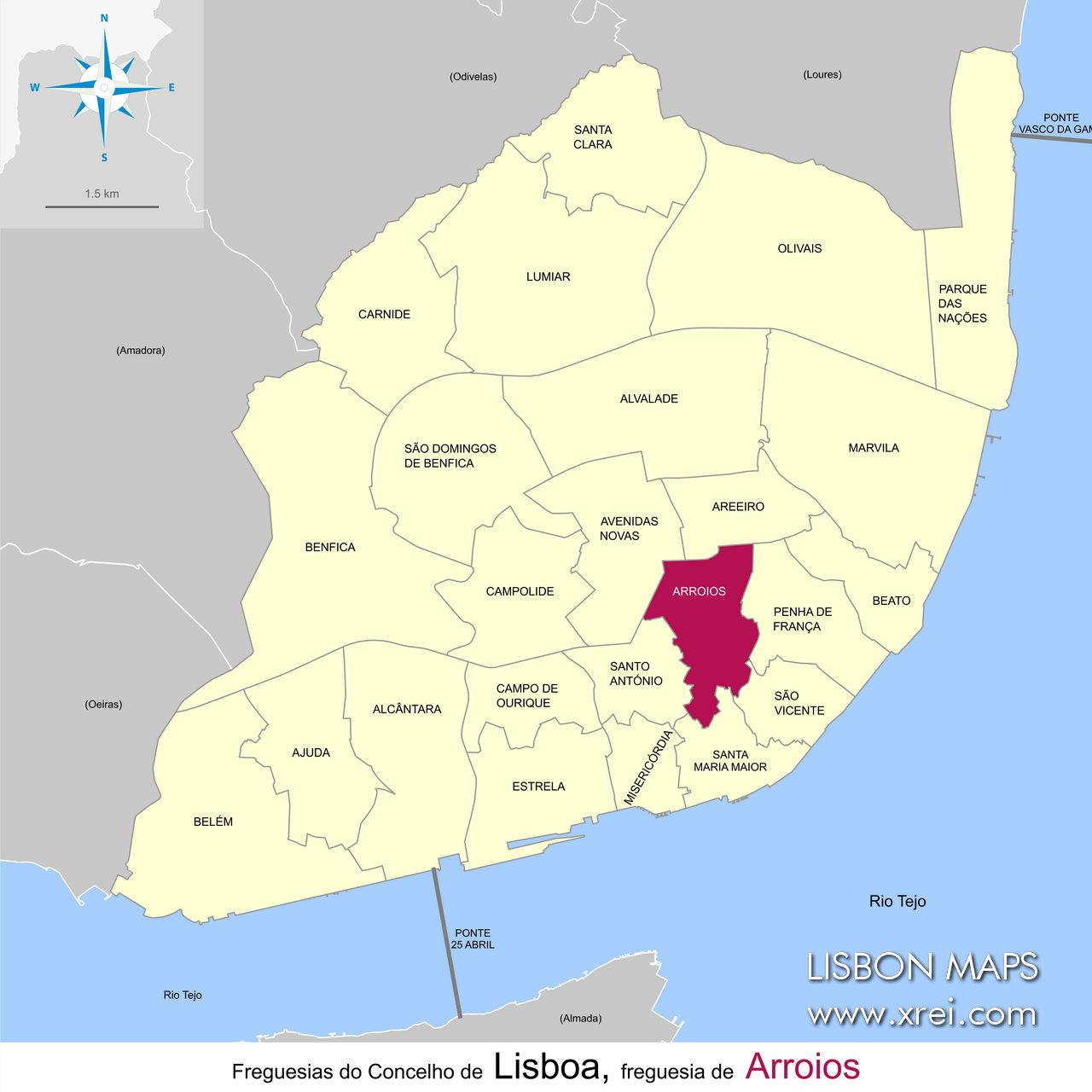 Arroios parish location on the map of Lisbon