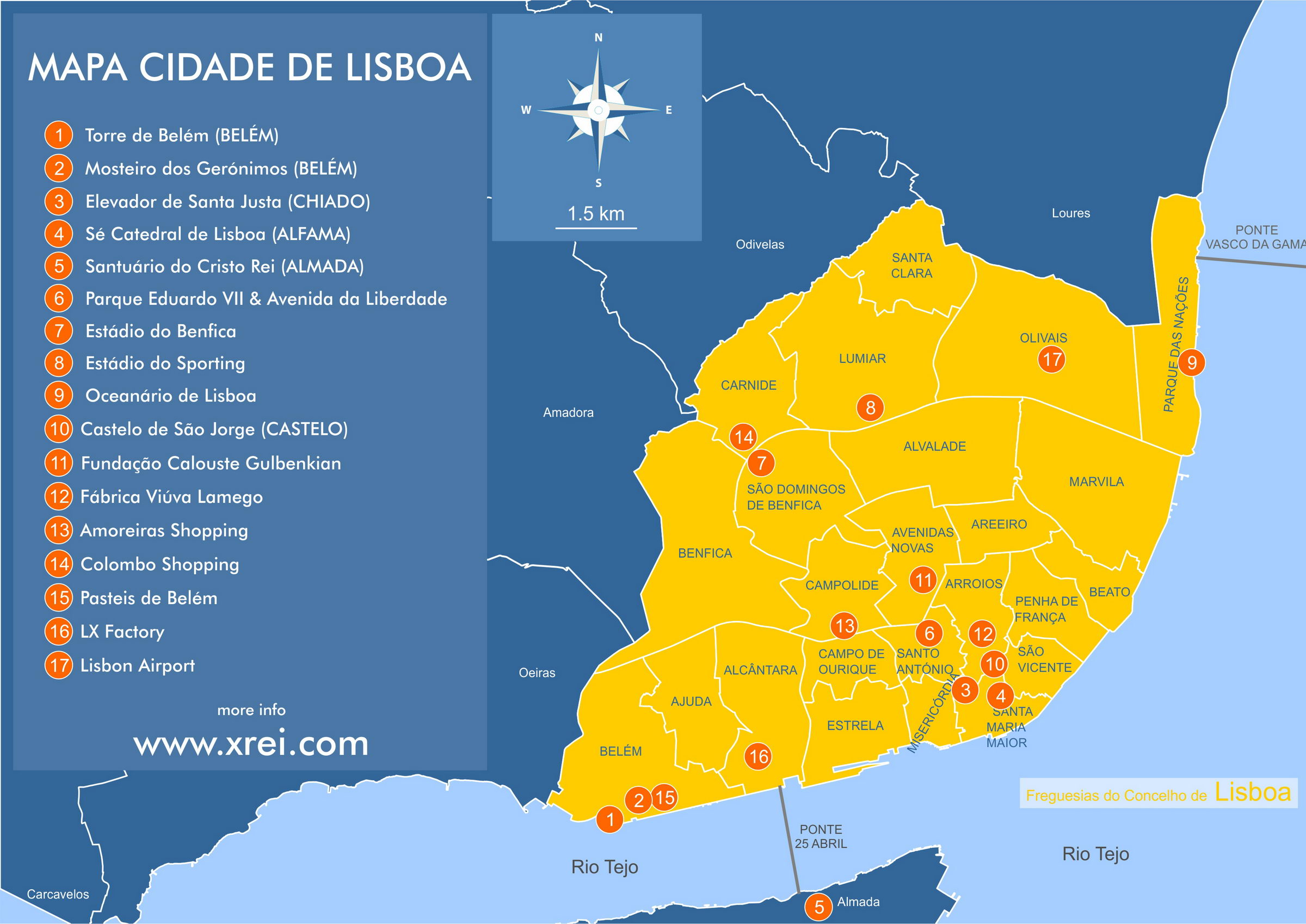 Map of the parishes of Lisbon with some of the attractions and points of interest that you can find in the articles xrei.com