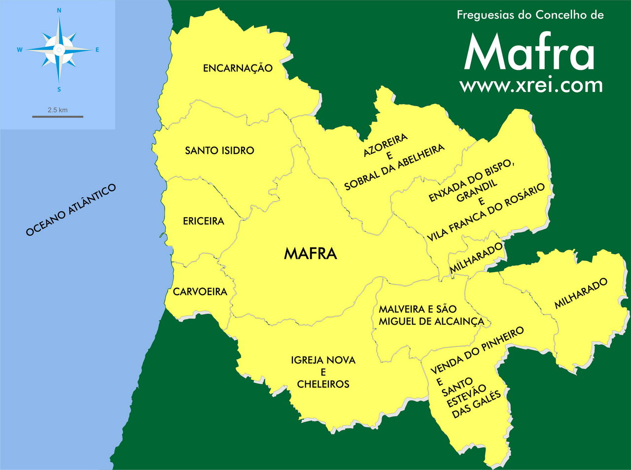 Map of the parishes of the municipality of Mafra