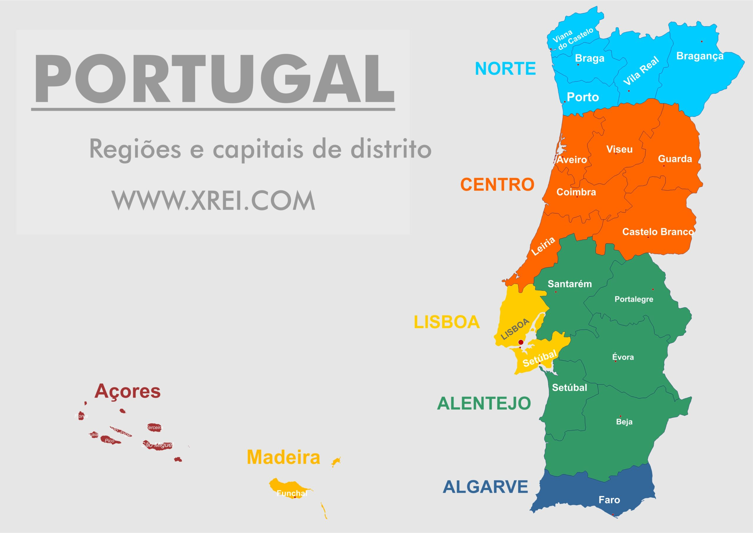 Portugal consists of five regions on the continent: the northern region, the central region, the Lisbon and Tagus Valley region, the Alentejo region and the Algarve region. And two autonomous regions in the Azores and Madeira archipelago