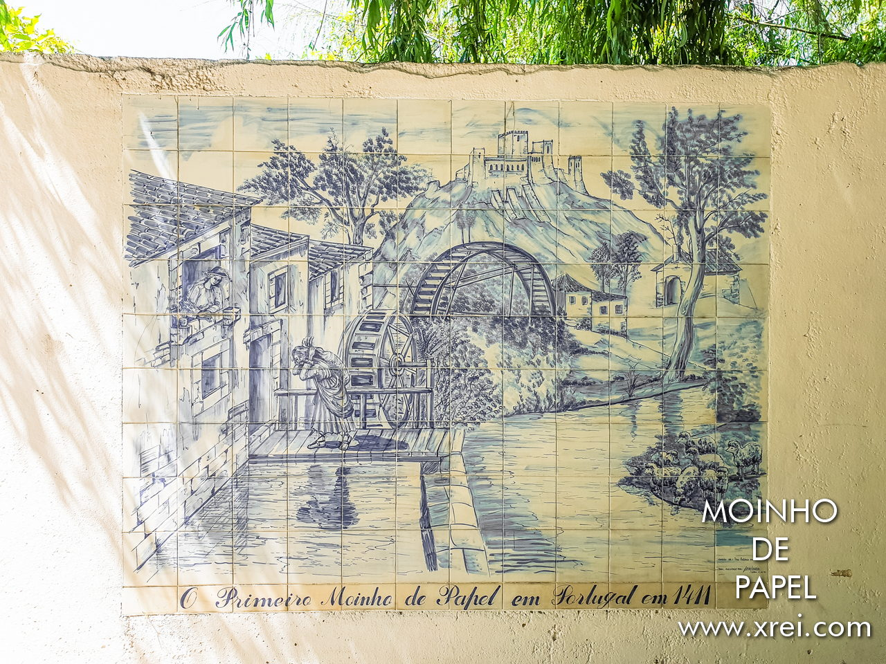 Paper Mill represented on a hand painted tile panel