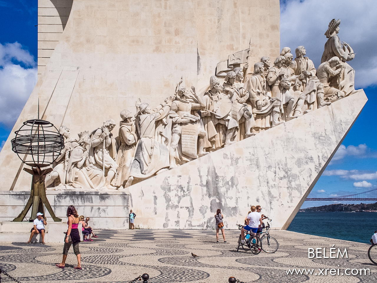 Statues of the figures of the Portuguese discoveries in the Monument to the Discoveries