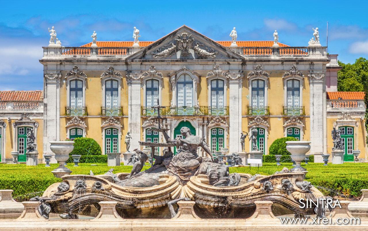 """The Palace of Queluz. The """"Ceremonial Façade"""" of the corps de logis by Mateus Vicente de Oliveira."""