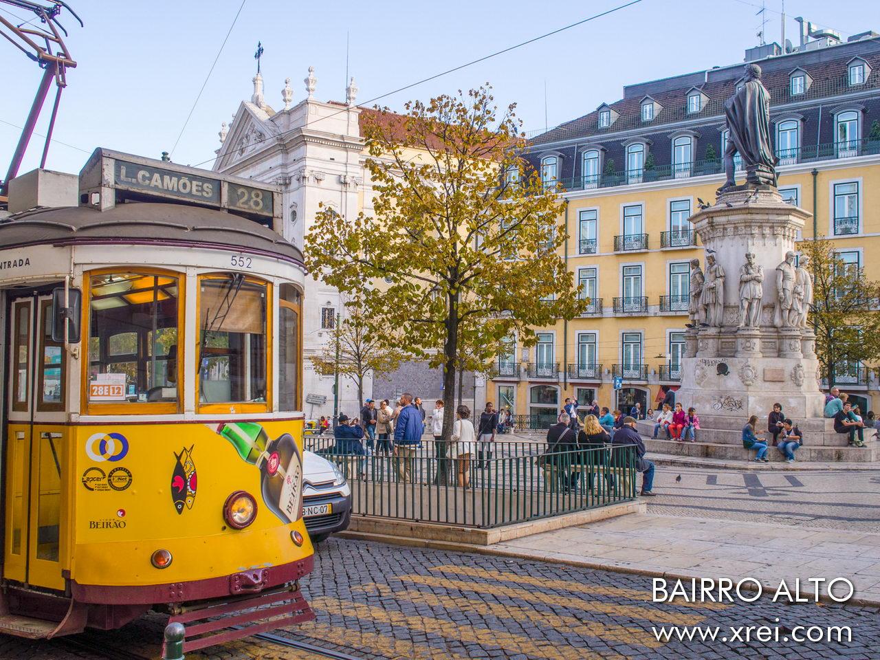 Luís de Camões Square, Bairro Alto in Lisbon