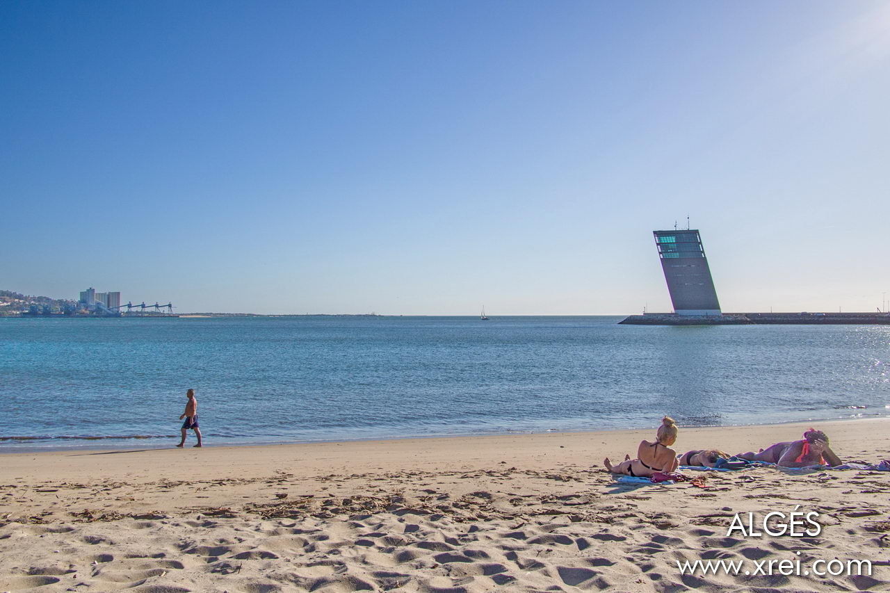 Algés beach, located at the mouth of the Tagus river, overlooking the south bank