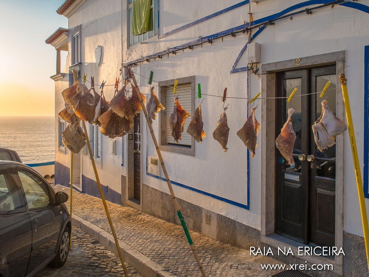 Ray, dried on the clothesline, to be prepared as a gastronomic delicacy typical of Ericeira in the municipality of Mafra. The streak is dried in the sun on a clothesline, as if it were a piece of clothing, afterwards it is well washed, and cured in brine, a tradition that comes from the times when it was necessary to guarantee sustenance for the days of greatest scarcity